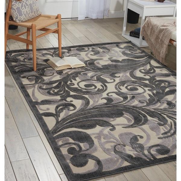 Nourison Graphic Illusions Black Swirl Multi Transitonal Rug - 5'3 x 7'5
