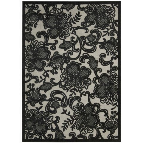 """Nourison Graphic Illusions Carved Floral Pewter Rug - 5'3"""" x 7'5"""""""