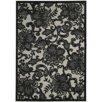 Nourison Graphic Illusions Carved Floral Pewter Rug - 5'3 x 7'5
