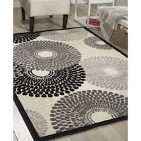 Nourison Graphic Illusions Circular Black Multi Color Rug - 5'3 x 7'5