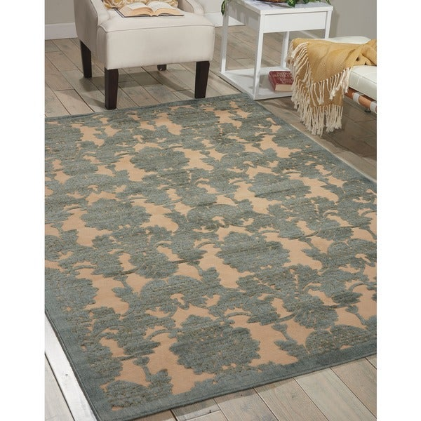 Nourison Graphic Illusions Damask Teal Rug 5 3 X 7 5