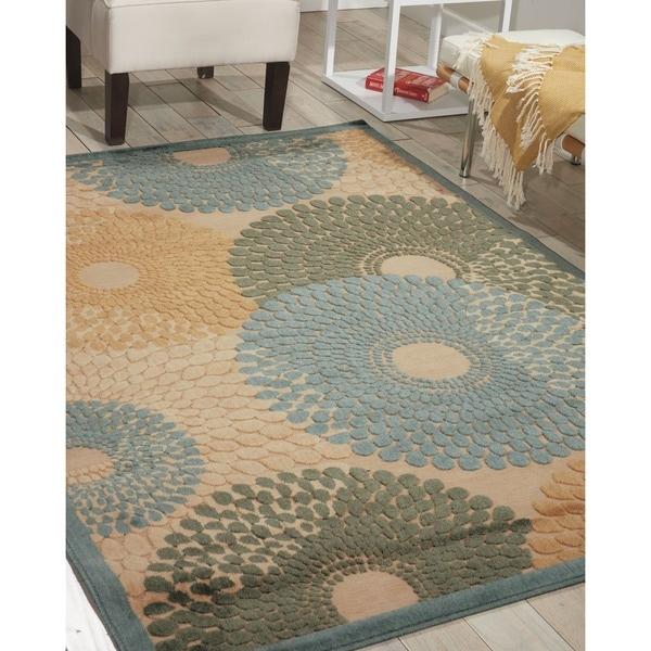 Nourison Graphic Illusions Circular Teal Rug - 5'3 x 7'5