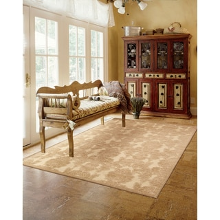 Nourison Graphic Illusions Damask Light Gold Rug (3'6 x 5'6)