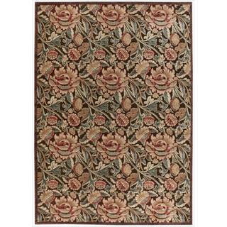 Nourison Graphic Illusions Floral Brown Mutli Color Rug (3'6 x 5'6)