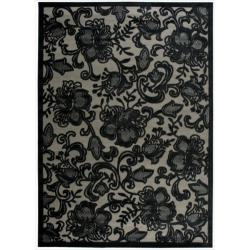 Shop Nourison Graphic Illusions Carved Floral Pewter Rug