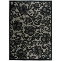 Nourison Graphic Illusions Carved Floral Pewter Rug - 7'9 x 10'10