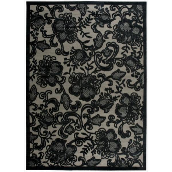 Nourison Graphic Illusions Carved Floral Pewter Rug (7'9 x 10'10) - 7'9 x 10'10