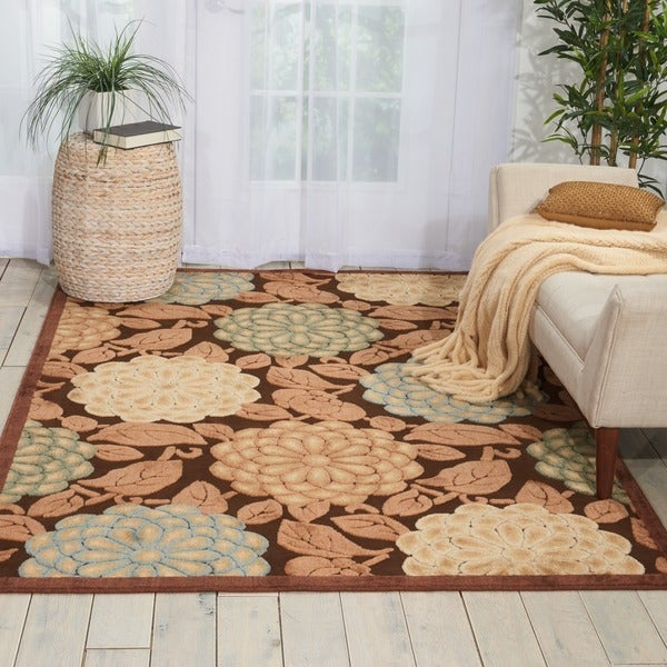 Nourison Graphic Illusions Floral Pastel Mutli Color Rug - 5'3 x 7'5