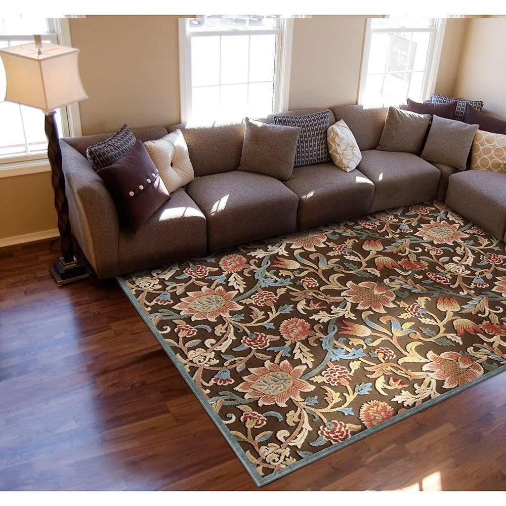 Nourison Graphic Illusions Floral Brown Rug (5'3 x 7'5) (1)