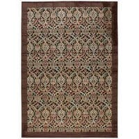 Nourison Graphic Illusions Chocolate Brocade Pattern Rug (5'3 x 7'5)