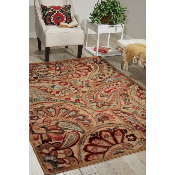 Nourison Graphic Illusions Paisley Red Multicolor Rug - 5'3 x 7'5