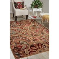 Nourison Graphic Illusions Paisley Red Multicolor Rug (5'3 x 7'5) - 5'3 x 7'5
