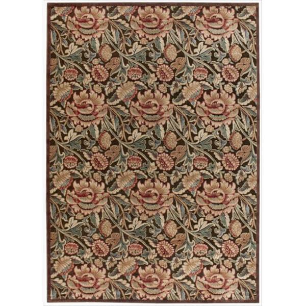 Nourison Graphic Illusions Floral Brown Multicolor Rug - 5'3 x 7'5