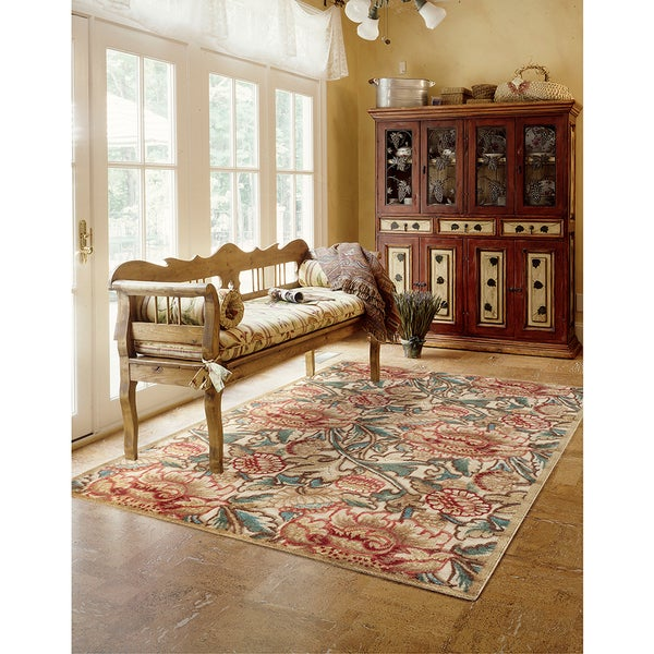 Nourison Graphic Illusions Gold Flower Pattern Rug - 5'3 x 7'5