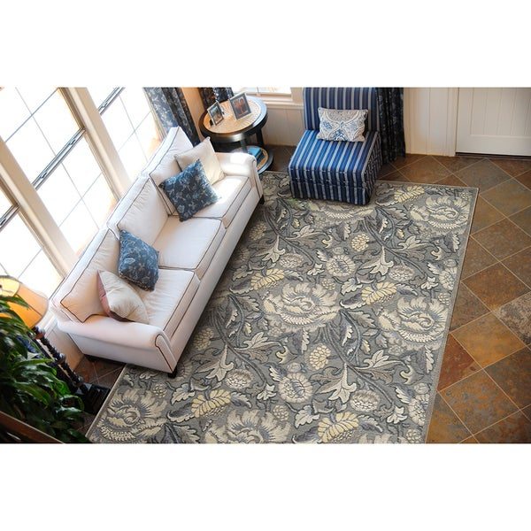 Nourison Graphic Illusions Floral Grey Rug - 5'3 x 7'5