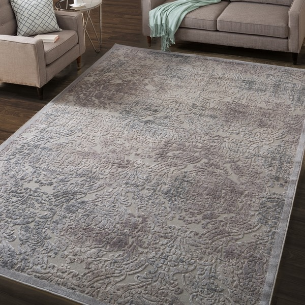 Nourison Graphic Illusions Grey Antique Damask Pattern Rug