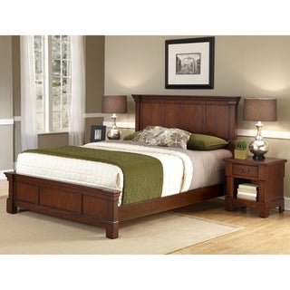 The Aspen Collection Rustic Cherry Queen Bed & Night Stand by Home Styles