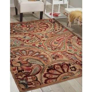Nourison Graphic Illusions Paisley Red Multicolor Rug  (7'9 x 10'10)