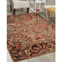 Nourison Graphic Illusions Paisley Red Multicolor Rug  (7'9 x 10'10) - 7'9 x 10'10