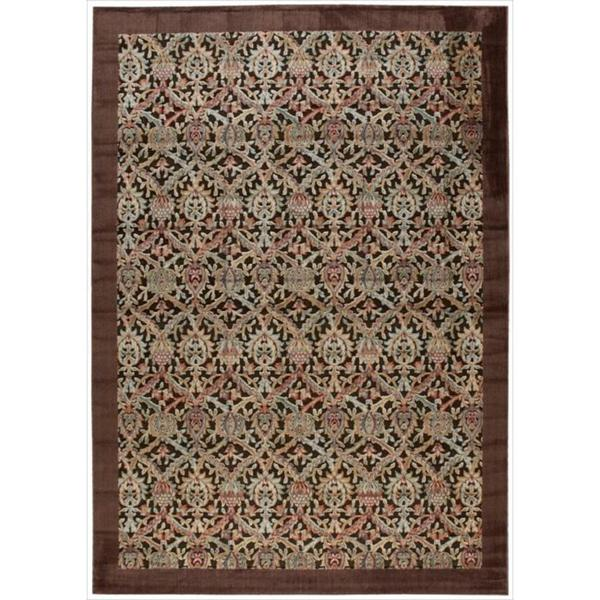Nourison Graphic Illusions Chocolate Brocade Pattern Rug (7'9 x 10'10) - 7'9 x 10'10
