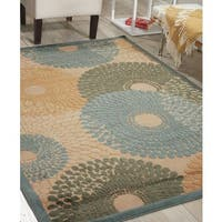 Nourison Graphic Illusions Circular Teal Rug - 7'9 x 10'10