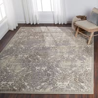 Nourison Graphic Illusions Ivory Antique Damask Pattern Rug (7'9 x 10'10)