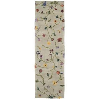 Nourison Hand-tufted Julian Light Green Wool Rug (2'3 x 8')