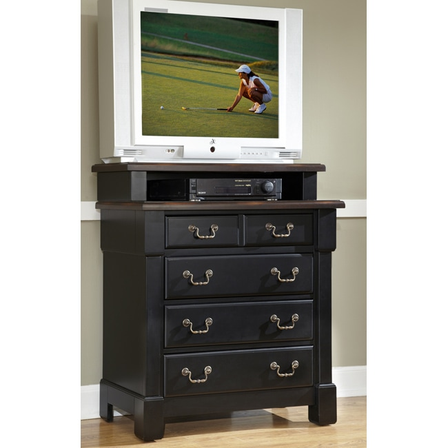 The Aspen Collection Rustic Cherry and Black Media Chest by Home Styles