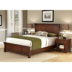 Home Styles The Aspen Collection Rustic Cherry King Bed & Night Stand