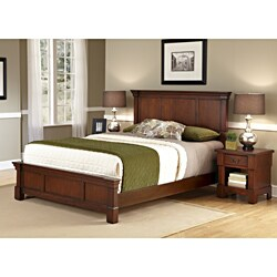 The Aspen Collection Rustic Cherry King Bed & Night Stand by Home Styles