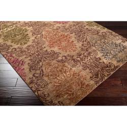 Hand-knotted Juneau Tan Wool Rug (2' x 3') - Thumbnail 1
