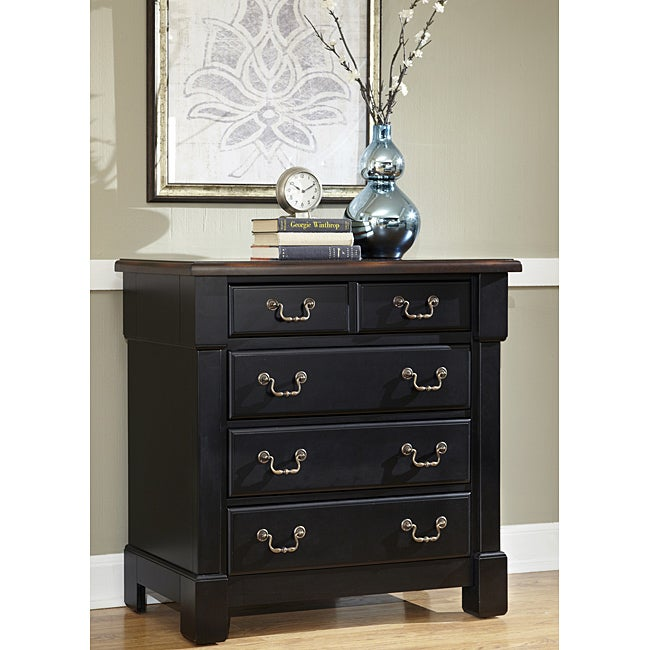 The Aspen Collection Rustic Cherry and Black Drawer Chest by Home Styles