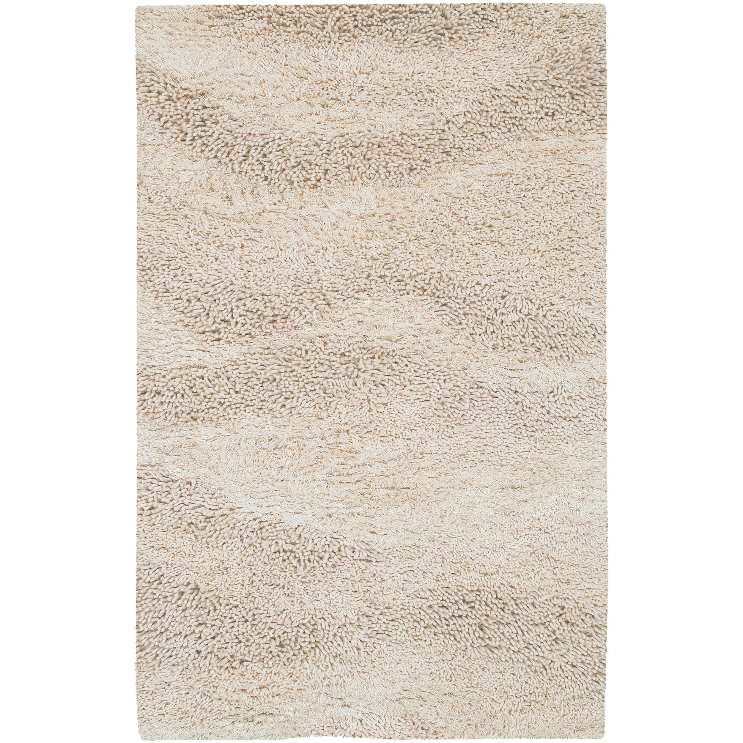 Hand-woven Lakes Ivory Wool Plush Shag Rug (2' x 3')