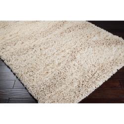 Hand-woven Lakes Ivory Wool Plush Shag Rug (2' x 3') - Thumbnail 1