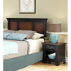 Home Styles The Aspen Collection Rustic Cherry & Black Queen/Full Headboard & Night Stand