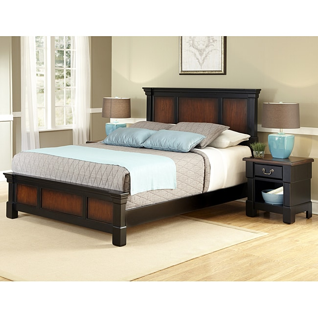 Shop Home Styles Aspen Rustic Cherry King Bedroom Set At: Shop The Aspen Collection Rustic Cherry & Black Queen Bed