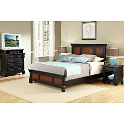Home Styles The Aspen Collection Rustic Cherry & Black Queen Bed, Media Chest & Night Stand