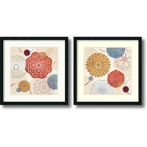 Framed Art Print 'Abstract Bouquet - set of 2' by Veronique Charron 26 x 26-inch Each