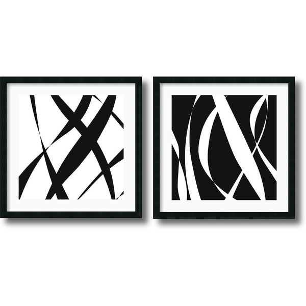 Framed Art Print 'Fistral Nero Blanco - set of 2' by Denise Duplock 26 x 26-inch Each