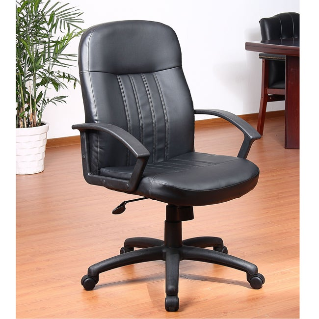 Aragon Black Bonded Leather Adjustable-height Executive Chair