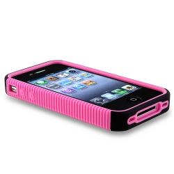 Pink/Black Hybrid Case/ Screen Protector for Apple iPhone 4/ 4S