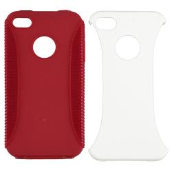 Red/ White Hybrid Case/ Mirror Screen Protector for Apple iPhone 4/ 4S - Thumbnail 1