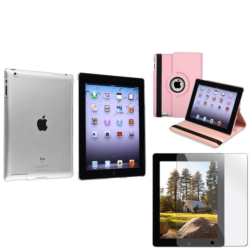 Pink Leather Case/ Crystal Case/ Screen Protector for Apple iPad 3