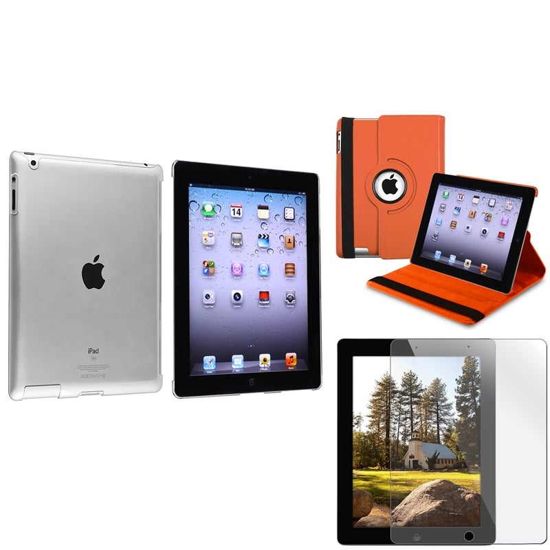INSTEN Orange Leather Tablet Case Cover/ Crystal Tablet Case Cover/ Screen Protector for Apple iPad 3