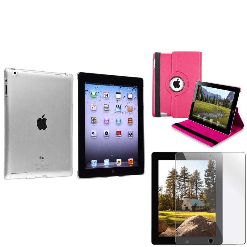 INSTEN Pink Leather Tablet Case Cover/ Crystal Tablet Case Cover/ Screen Protector for Apple iPad 3/ 4