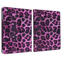 INSTEN Black/ Purple Leopard Leather Tablet Case Cover/ Crystal Tablet Case Cover for Apple iPad 2/ 3/ 4
