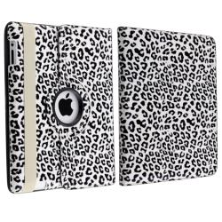 INSTEN White/ Black Leopard Leather Tablet Case Cover/ Crystal Tablet Case Cover for Apple iPad 2/ 3/ 4