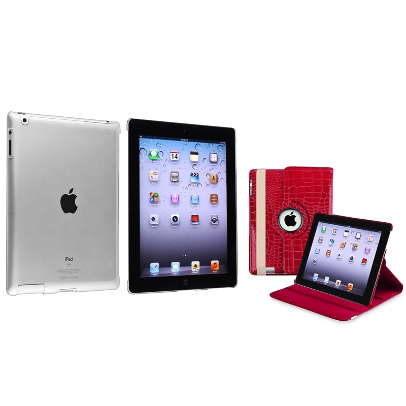 Red Crocodile Pattern Leather Case/ Crystal Case for Apple® iPad 2/ 3