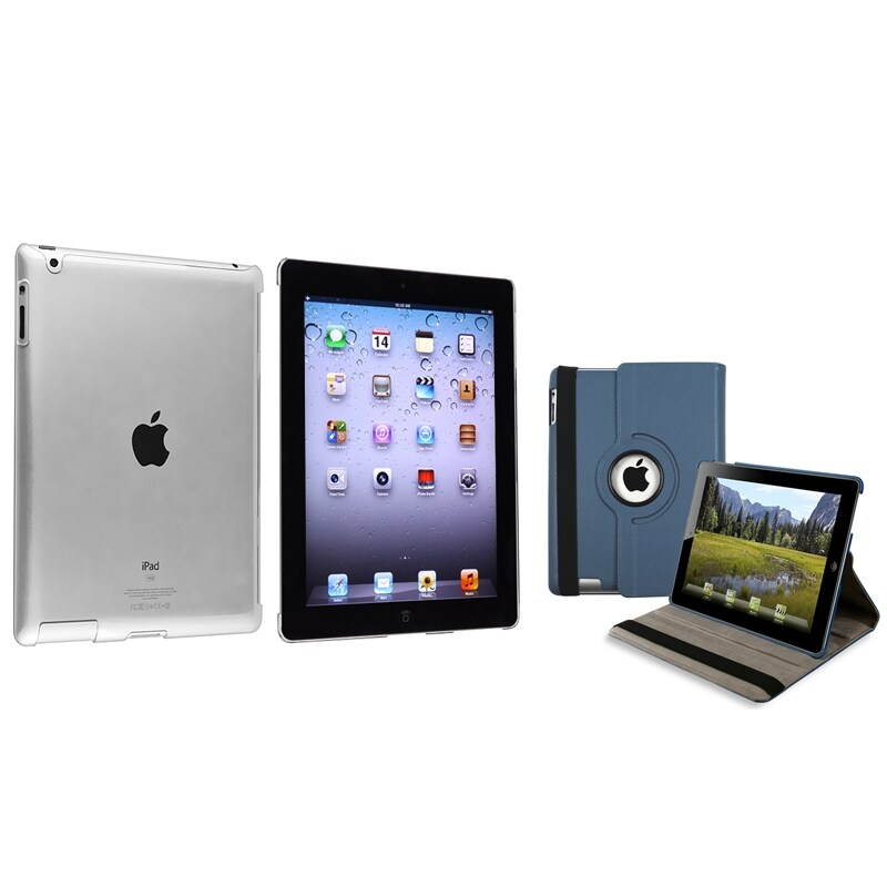 Navy Blue 360 Swivel Leather Case/ Crystal Case for Apple iPad 2/ 3