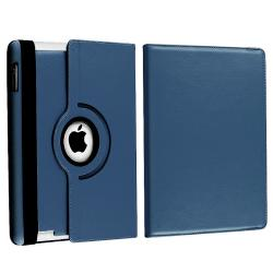 Navy Blue 360 Swivel Leather Case/ Crystal Case for Apple iPad 2/ 3 - Thumbnail 1